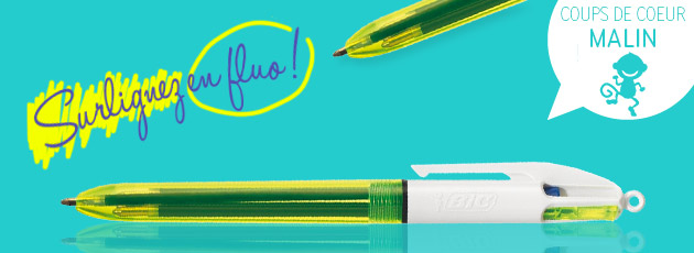 stylo 4 couleurs jaune fluo